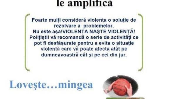 """""""VIOLENŢA NU REZOLVĂ PROBLEMELE!""""- Campanie de prevenire a infracţiunilor de loviri sau alte violenţe în mediul rural"""