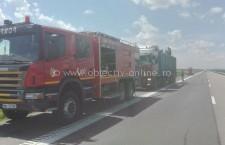 Intervenție la incendiu de autovehicul pe A 2, la km 69 + 500