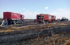 Chiselet/O combină agricolă a luat foc din cauza unui scurtcircuit electric