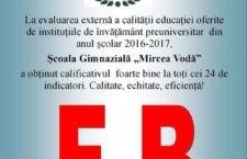 """Pentru calitatea educației, Școala Gimnazială """"Mircea Vodă"""" Călărași a fost notată cu """"Foarte Bine"""" de către ARACIP"""